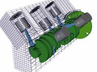 V 型汽车发动机原理图