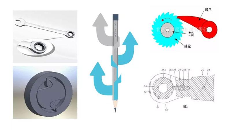 棘轮扳手正反转可变向棘轮内部结构原理图