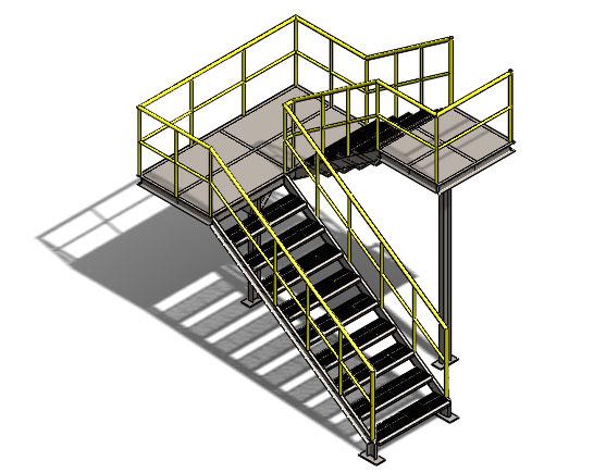 车间钢制双层梯子 SolidWorks 模型下载