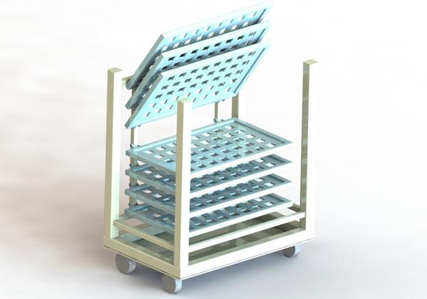 可打开式多层托盘料车SolidWorks 3D 源文件