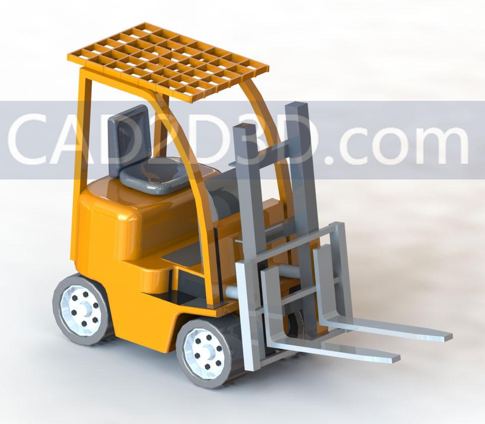 工厂动力叉车3D模型SolidWorks零件格式源文件