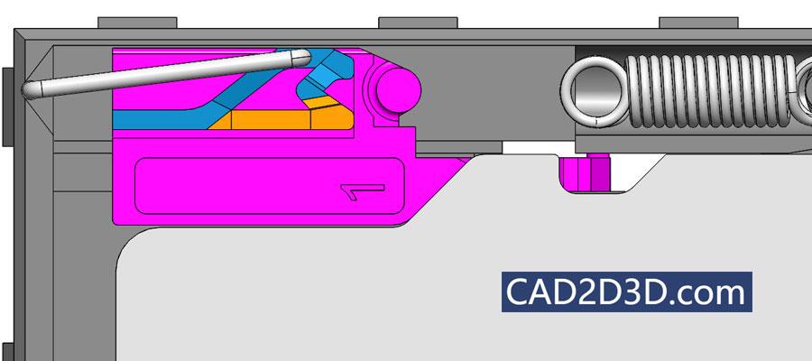 手机存储卡机械式卡槽结构 按一下自动锁止及弹出原理及说明 附3D图