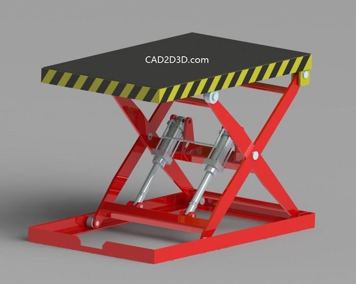 剪刀式折叠升降机STP通用格式3D源文件免费下载