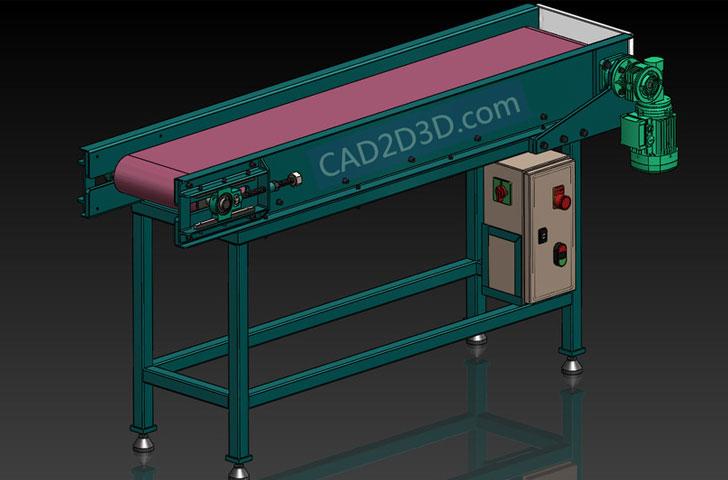 皮带输送机三维图(3D)SolidWorks格式源文件免费下载