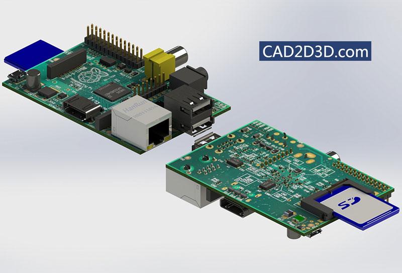 电路板电子零部件(电阻、电容、USB、网口、SD卡槽、接插件等)三维模型通用格式免费下载