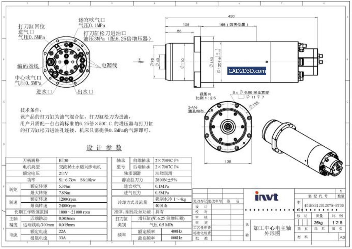 永磁同步电主轴 可用于数控机床主轴(英威腾)