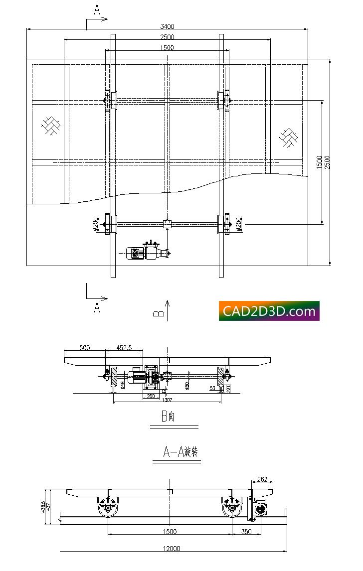 轨道式电动平车结构设计2D外形图纸
