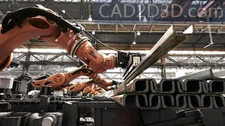 多台机器人协作实现自动搬运重量2.5吨长6米钢结构型材