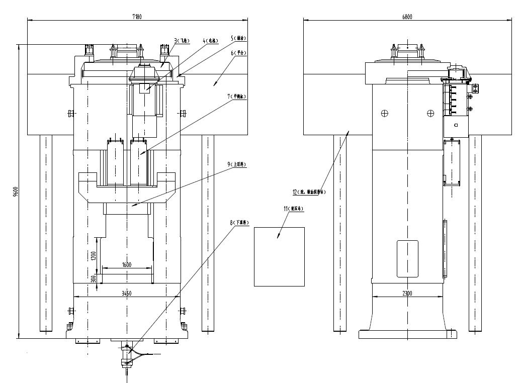 锻压机外形图2D图纸 含各部分结构组成