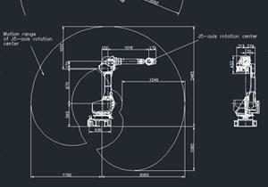 发那科机器人 FANUC M-710iC/50 机器人运动范围图 dwg 通用格式