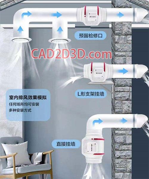防油防潮耐高温轴流风机 管道安装式 铸造除尘除气