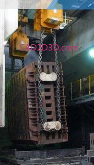 柔性环形绳索/链条 180°/360°翻转机,实现大型重载工件的翻转