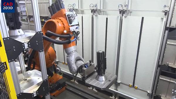 机加工线性托盘快换系统,利用机器人实现托盘整体更换,机加工柔性制造