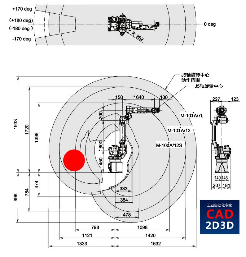 机器人J1轴后方有10°盲区,能从屁股后面取放件吗?